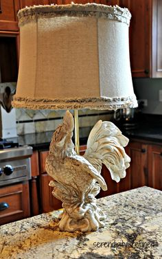 Chalk paint French rooster kitchen lamp linen shade makeover by Serendipity Refi. - Chalk paint French rooster kitchen lamp linen shade makeover by Serendipity Refined -