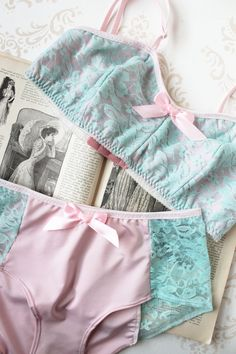 Fabulous color combination! Handmade Lingerie 'Forget Me Not' Pastel Pink and Blue by ohhhlulu, $79.00