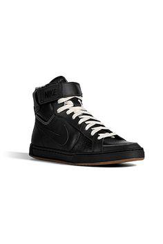NIKE  Black Leather Air Flytop Sneakers