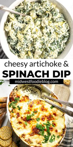 The Easiest Spinach & Artichoke Dip Better than any restaurant spinach artichoke dip (I promise!), this simple appetizer has just 7 ingredients and takes less than 45 minutes from start to finish! And there's NO MAYO! Baked Spinach Artichoke Dip, Spinach Dip, Guacamole, Good Food, Yummy Food, Tasty, Fun Food, Cooking Recipes, Healthy Recipes