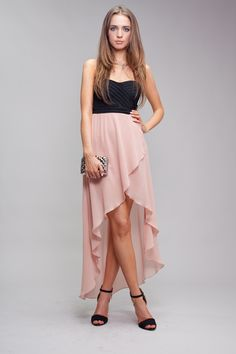 pink/black high low dress (: I want something like this for prom but I'm wearing it with awesome tights and combat boots! :D