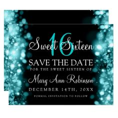 Sweet 16 Save The Date Sparkling Lights Teal Blue Card - personalize gift idea special custom diy or cyo