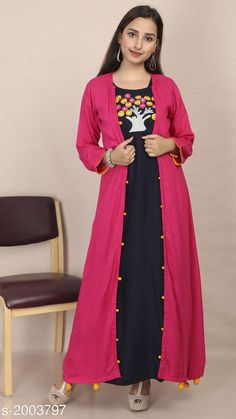 Kurtis & Kurtas Women's Embroidered Rayon Kurti Fabric: Kurti- Rayon, Jacket- Rayon Sleeves: 3/4 Sleeves Are Included Size: Kurti & Jacket- M - 38 in, L - 40 in, XL - 42 in Length: Kurti- Up To 53 in, Jacket- Up To 52 in Type: Stitched Description: It Has 1 Piece Of Kurti With 1 Piece Of Jacket Work: Embroidered Sizes Available: M, L, XL   Catalog Rating: ★4.3 (1199)  Catalog Name: Divine Pretty Rayon Womens Embroidered Kurtis Vol 1 CatalogID_264805 C74-SC1001 Code: 506-2003797-