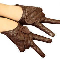 Brown Womens Winter Warm Short Cute Bow Leather Gloves ($27) ❤ liked on Polyvore