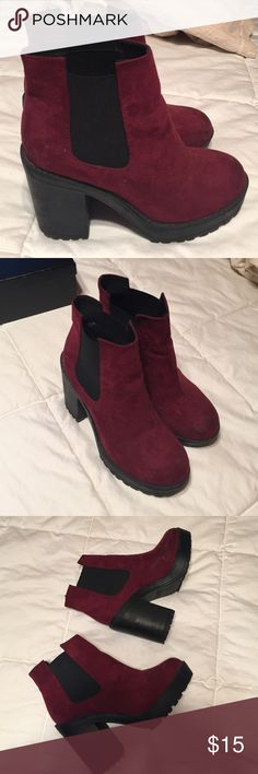Divided || Maroon Suede Platform Boots Worn a few times. A scuff and some dirt. May come out with material cleaner. SIZE SAYS euro 37 US 6, but I'm a 7 and they fit me comfortably Nasty Gal Shoes