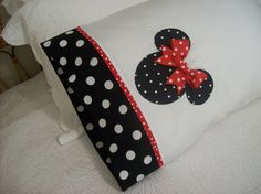 minnie mouse girls room | Custom Boutique - Minnie Mouse Black Polka Dot Pillow Cover w/ Red ...