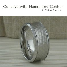 Extra Wide Concave Wedding Ring in Cobalt Chrome with hammered center.