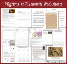 13-page Pilgrims at Plymouth Worksheets - including definitions, word search, writing activities, map work, Pilgrim-themed math pages, Mayflower Compact, peace treaty with Chief Massassoit, and more!