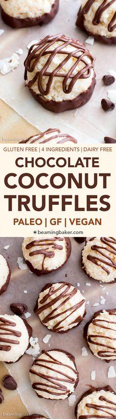 Paleo Vegan Chocolate Coconut Truffles (V, Paleo, GF, DF): an easy, 4-ingredient recipe for deliciously textured coconut truffles dipped in chocolate. #Paleo #Vegan #GlutenFree #DairyFree | BeamingBaker.com