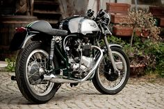 This lovely 1963 Triton is owned by the French photographer Vincent Michel. The frame is a slimline Norton 'featherbed', and the motor is a heavily-upgraded Triumph Thunderbird 'pre-unit'. The Triton is one of the stars of the $15.99 Bike EXIF wall calendar, available from http://www.octanepress.com/book/bike-exif-custom-motorcycle-calendar-2013