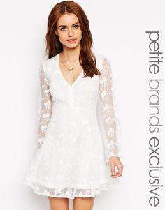 Glamorous Petite V Neck Skater Dress
