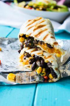 Crispy Black Bean and Rice Burritos | via Gimme Delicious