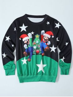 41a1e192828 Mario Color Block Christmas Sweatshirt - BLACK GREEN L .