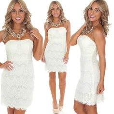 TAG A FRIEND  who needs this dress in her life! Shop our new Cream Lace Dress for just ($34.99) now at #Tria and online at sophieandtrey.com! // #sophieandtrey #newarrival #musthave #lace #dress #lwd #strapless
