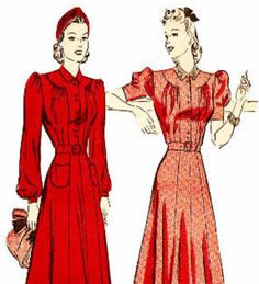 Advance 2552 Vintage 1940s Softly Tailored Dress Sewing Pattern
