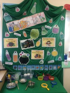 Created this potions lab with a little help from Twinkl! This is for our book week, focussing on 'Room on the Broom' Will also set up an area to create liquid and messy potion bottles to go with it! Halloween Theme Preschool, Preschool Set Up, Halloween Science, Halloween Themes, Preschool Activities, Forest School Activities, Activities For 2 Year Olds, Autumn Activities, Science Week