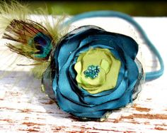 Peacock Feather Headband, Teal Hair Accessory, Lime Flower Hair Bow, Hair Accessories, Turquoise Flower Hair Piece, Fabric Flower Brooch