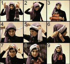 Here is hijab tutorial for groovy hijab style perfect for girls party.....tutorial courtesy of My Baju Muslim...