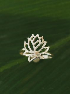 Full Lotus Flower Ring. $38.00, via Etsy.
