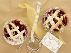 Mini Cherry pies in a mini mason jar...from Kelsey's Essentials on the Cooking Channel