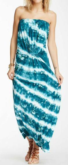 Strapless Tie-Dye Maxi Dress