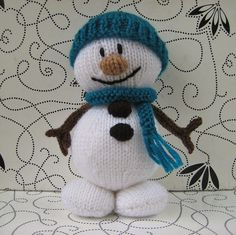 Mr Snowman Christmas knitting pattern - knit a fun toy or decoration with a knitted hat and scarf, pdf pattern with fast shipping. $2.50, via Etsy.