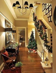 Christmas Decor - thinking I might try my stairs this way this year instead of wrapping it around the banisters