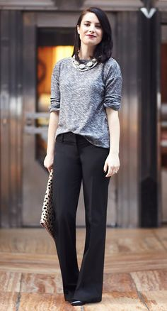 Classic black pants with a grey sweater and layer some sparkly necklaces.  Leopard print always kicks it up a notch.