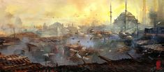 """Istanbul Rooftops"" by Donglu Yu http://donglu-littlefish.cgsociety.org/"