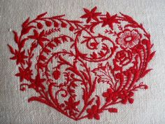 Vintage French Hemp Embroidered Heart