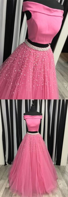 two piece off the shoulder watermelon long prom dress, 2018 prom dress with white pearls M2657