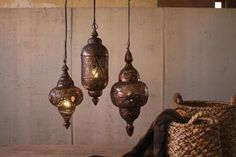 Set of 3 Hanging Moroccan Light Pendants Moroccan Hanging Lanterns, Moroccan Lighting, Moroccan Lamp, Shabby Chic Lighting, Lantern Set, Garden Table, Antique Copper, Decorative Bells, Pendant Lighting