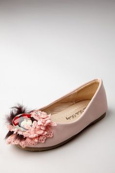 Mia Belle Baby  Feather Lace Brooch Flat Shoe