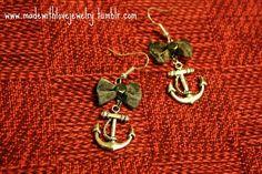 Anchors Earrings w/ Bows by Shanana on Etsy, $10.00
