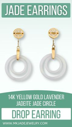 Beautiful double circle lavender jade circle drop earring with 14k yellow gold shou (longevity) tops with post and nut backs. Awesome earring design. Use discount code INSTA10JORDAN at checkout! Jade Earrings, Drop Earrings, Earring Crafts, Polymer Clay Earrings, Designer Earrings, Unique Gifts, Lavender, Personalized Items, Yellow