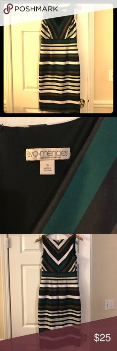 Eva Mendes striped wiggle dress Size small average Eva Mendes sleeveless striped dress. Slit in back. Zipper closure Eva Mendes Dresses Midi