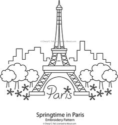 Eiffel Tower - Springtime in Paris Embroidery Pattern