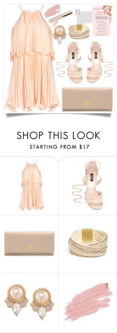 """""""Top Fashion set 29JUL16-Pleated Halter Dress"""" by mrs-rc ❤ liked on Polyvore featuring Prada, GUESS, Carolee, Jane Iredale and halterdresses"""