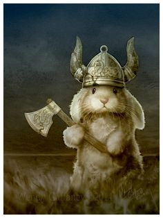 Viking Bunny Fine Art Print inches Art by Wendy Gaffeney Animals And Pets, Baby Animals, Funny Animals, Cute Animals, Funny Bunnies, Cute Bunny, Animal Original, Lapin Art, Art Mignon