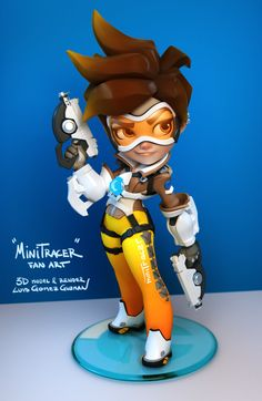 My fan art version of Tracer!  <<>> Have some videos on YouTube, modelling process: https://www.youtube.com/channel/UC_dv265a70e4rsLe_5RzRZw