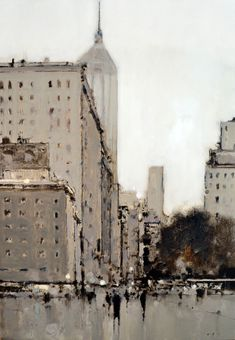 City in Black & Brown - 18x12, oil on board - at Principle Gallery