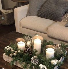 : 53 Last Minute Rustic Christmas Decorations To Make More Per. 53 Last Minute Rustic Christmas Decorations To Make More Perfect Your Home bluechristmasdecor christmasdecortraditional christmasdecorationstaircase christmasdecorationwindows woodenchri Magical Christmas, Winter Christmas, All Things Christmas, Christmas 2019, Christmas Home, Christmas Crafts, Christmas Candles, Coffee Table Christmas Decor, Farmhouse Christmas Decor