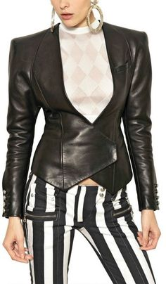463c192b Balmain Nappa Leather Blazer - Lyst Leather Blazer, Leather Fashion, Blazer  Fashion, Native