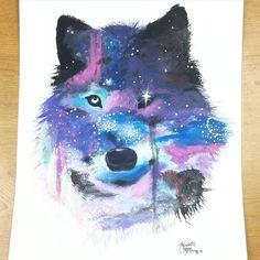 Galaxy Wolf by GrelltheBloodRedKing Galaxy painting Galaxy wolf Galaxy art