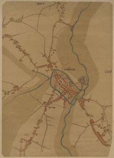 Plattegrond van Eindhoven, Gestel, Stratum en Woensel door Jacob van Deventer. Auteur(s)Smulders & Co, J. (lithograaf); Nijhoff, M. (uitgever); Deventer, Jacob van (tekenaar) - 1557