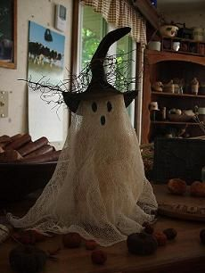 Spooky Ghost-halloween, primitives, handmade primitives, cheesecloth, doll, colorwashed, spooky, painted, distressed