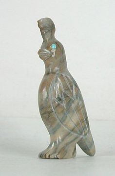 Authentic Native American Quail Fetish of Picasso marble by Zuni Fabian Tsethlikai
