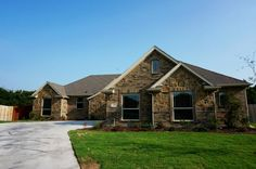 Front Elevation, Full stone and brick home #mcbeehomes