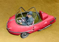 The Bouffort Peardrop microcar (Aka, The City Car), 1952 In 1952 the French car pioneer Victor Bouffort designed a revolutionary, egg-shaped, plastic microcar. He made a tour through Germany to sell his design. There was a lot of interest, but nobody took out a license. Watch it roll: https://www.youtube.com/watch?v=xNSYd34KxCo