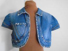 Forever 21 Size L Blue Denim Embellished Cap Sleeve Distressed Bolero Jean Vest  #FOREVER21